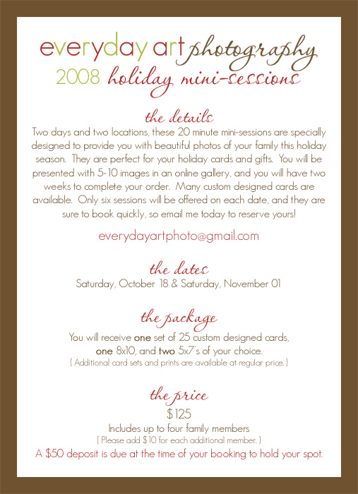 Holiday mini sessions web